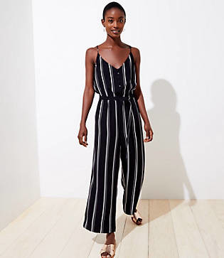 LOFT Striped Strappy Wide Leg Jumpsuit