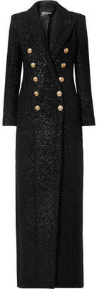 Balmain Metallic Wool-blend Tweed Coat - Black