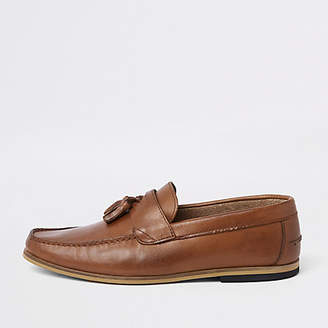 River Island Brown wide fit leather tassel loafers