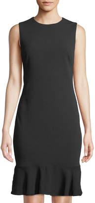 Donna Karan Sleeveless Flounce-Hem Sheath Dress w/ Ruffle Back