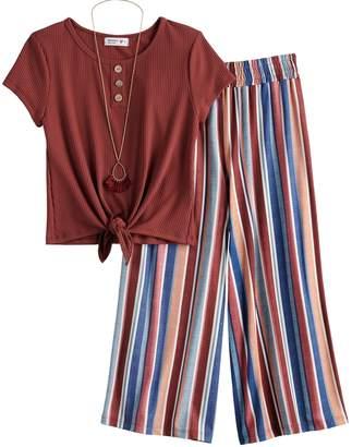 Knitworks Girls 7-16 Knot Top & Striped Pants Set