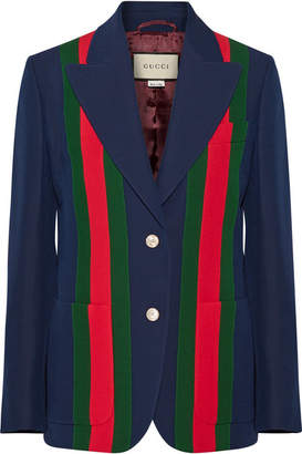 Gucci Striped Wool And Silk-blend Crepe Blazer - Navy