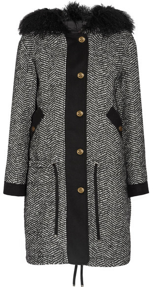 Moncler Moncler - Lara Shearling-trimmed Tweed Down Coat - Black