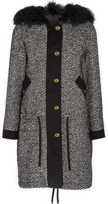 Moncler - Lara Faux Shearling-trimmed Tweed Down Coat - Black $4,040 thestylecure.com