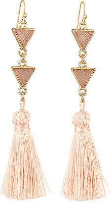 Panacea Triangular Druzy & Tassel Multi-Drop Earrings, Pink $25 thestylecure.com