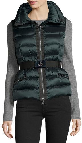 MonclerMoncler Tareg Belted Puffer Vest, Dark Green