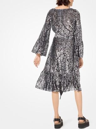 Michael Kors Metallic Floral Fil Coupe Dress