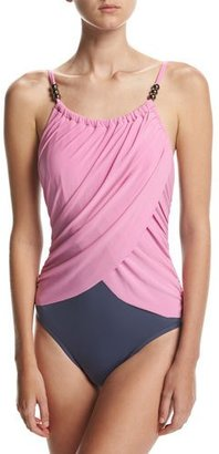 Magicsuit Lisa Solid Draped-Front One-Piece Swimsuit, Pink $158 thestylecure.com
