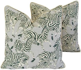 One Kings Lane Vintage Safari Zebra Pillows - Set of 2