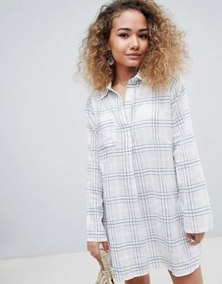 En Creme En Crme long sleeved check print shirt dress
