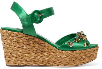 Dolce & Gabbana - Embellished Satin Wedge Sandals - Green $1,445 thestylecure.com