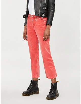 The Kooples Studded cropped wide-leg jeans