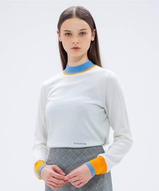 Calvin Klein (カルバン クライン) - CK CALVIN KLEIN WOMEN 【ロゴシリーズ】ファインメリノロゴ クルーネックカラーブロック ニット(C)FDB