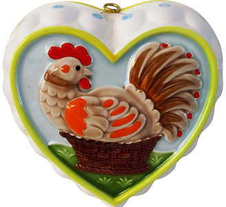 One Kings Lane Vintage Hand-Painted Rooster Heart-Shaped Mold - Osprey Blu