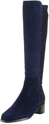 Stuart Weitzman Halfback Suede Stretch Knee Boot, Nice Blue $525 thestylecure.com