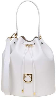 Furla Bucket Crown M In White Leather