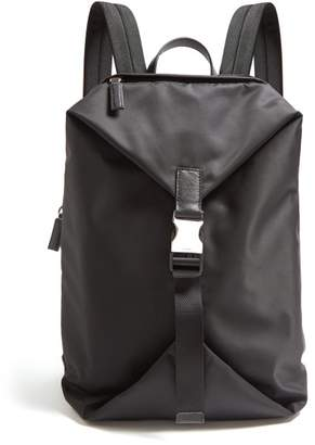 Prada Leather Trimmed Buckle Fastening Nylon Backpack - Mens - Black