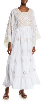 Vita Kin Agra Round-Neck Flare-Sleeves Diamond-Patch Linen Long Dress