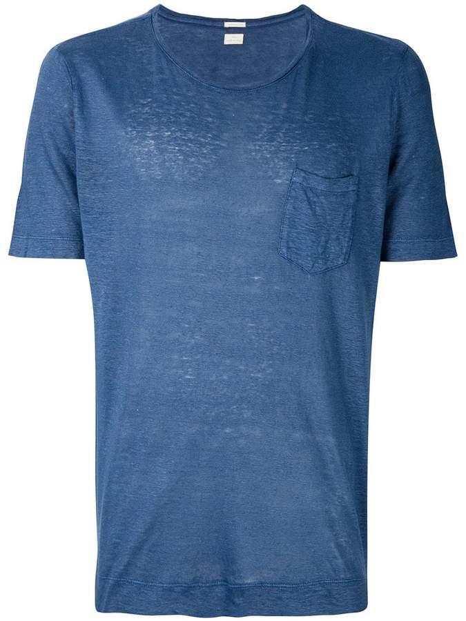 Leinen-T-Shirt mit Brusttasche