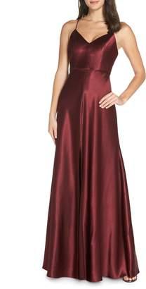 Jenny Yoo Dina V-Neck Satin Crepe Gown