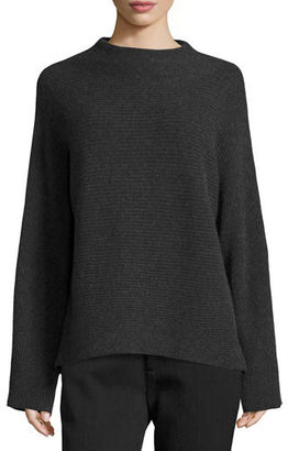 Vince Ribbed Wool-Cashmere Funnel-Neck Sweater $365 thestylecure.com