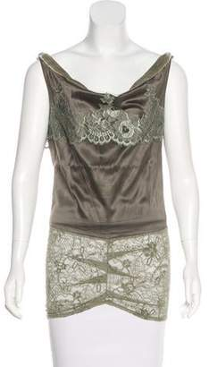 Christian Dior Lace-Accented Sleeveless Top