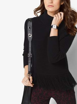 MICHAEL Michael Kors Fringed Merino Wool and Cashmere Turtleneck