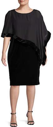 LORI MICHAELS Asymmetrical Cape Sheath Dress