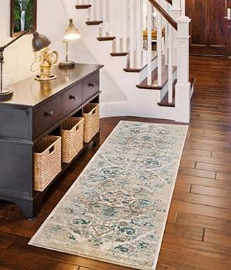 Persian-Rugs 4620 Distressed Cream 2 x 7 Hallway runner Area Rug Carpet