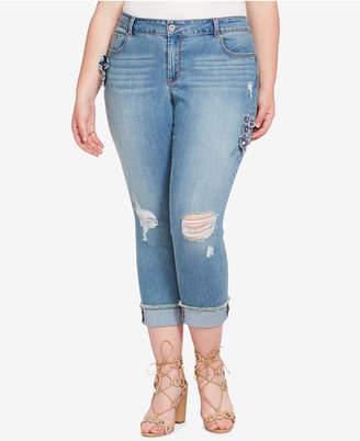 Jessica Simpson Trendy Plus Size Ripped Floral-Appliqué Skinny Jeans