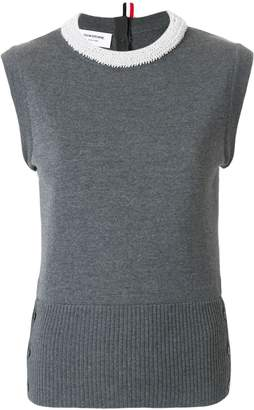 Thom Browne Pearl Applique Wool Shell Top