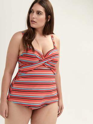 Striped Tankini Swim Top with Bra - Sea