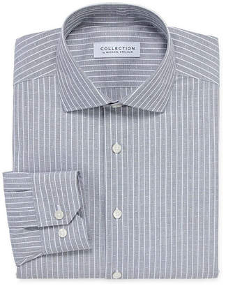 COLLECTION Collection by Michael Strahan Wrinkle Free Cotton Stretch Mens Spread Collar Long Sleeve Dress Shirt