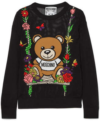 Moschino - Teddy Intarsia Open-knit Cotton Sweater - Black