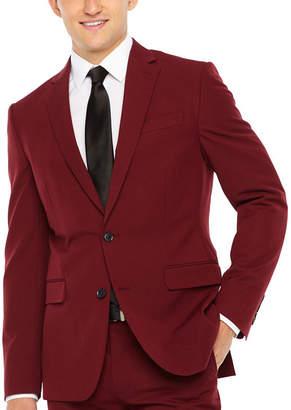 Jf J.Ferrar Bright Burgundy Slim Fit Stretch Suit Jacket