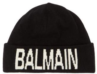 Balmain Wool Blend Logo Beanie Hat - Mens - Black White