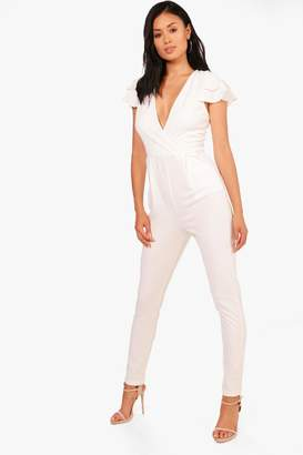 4d17d0a3b7 at boohoo · boohoo Kat Ruffle Sleeve Plunge Front Jumpsuit