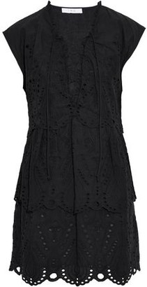 IRO Evene Lace-Up Broderie Anglaise Cotton Mini Dress