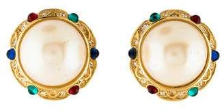 Nina Ricci Faux Pearl & Crystal Clip-On Earrings