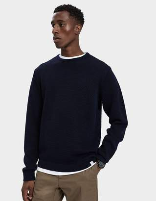 Norse Projects Skagen All Over Bubble Knit Sweater in Dark Navy