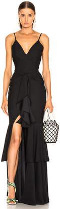 PatBO Bo Ruffle Maxi Dress in Black | FWRD