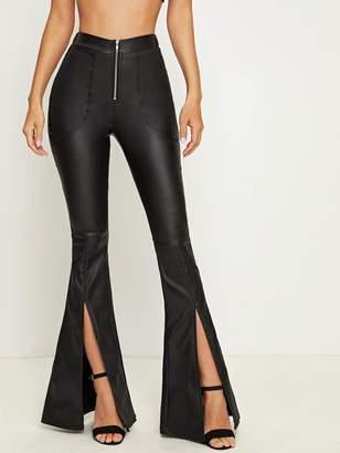 Shein Zipper Fly Slit Hem Flare Jeans