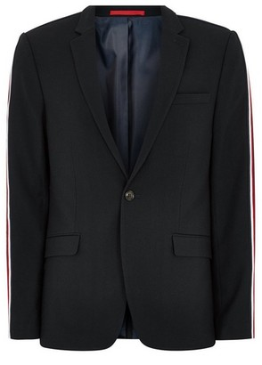 Topman Mens Navy Textured Skinny Suit Jacket With Side Taping