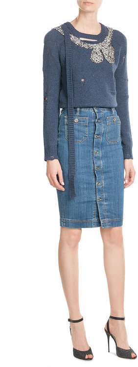 Marc JacobsMarc Jacobs Distressed Embellished Wool/Cashmere Pullover