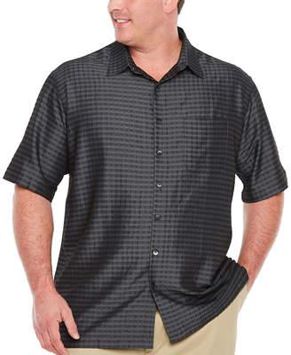 Van Heusen Air Rayon Poly Grid Short Sleeve Button-Front Shirt-Big and Tall