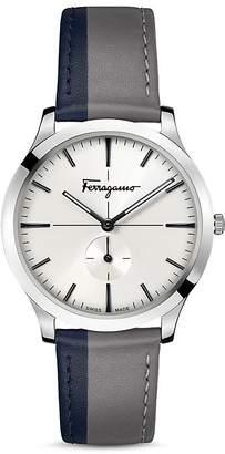 Salvatore Ferragamo Slim Formal Gray & Blue Strap Watch, 40mm