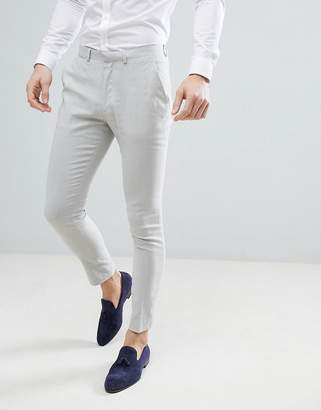 Asos DESIGN wedding super skinny suit pants in ice gray linen
