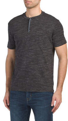 Short Sleeve Henley With Chest Pocket
