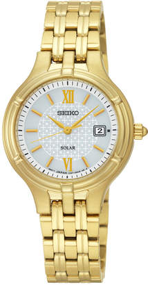 Seiko Women's Solar Dress Gold-Tone Stainless Steel Bracelet Watch 28mm SUT220 $250 thestylecure.com
