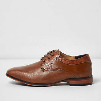 River Island Boys tan brown pointed brogue shoes